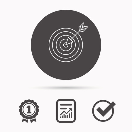 intention: Target with arrow icon. Dart aim sign. Report document, winner award and tick. Round circle button with icon. Vector