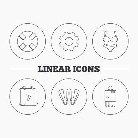 changing: Lifebuoy, lingerie and flippers icons. Changing cabin linear sign. Flat cogwheel and calendar symbols. Linear icons in circle buttons. Vector