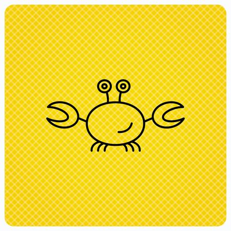 cancer crab: Crab icon. Cancer shellfish sign. Wildlife symbol. Linear icon on orange background. Vector