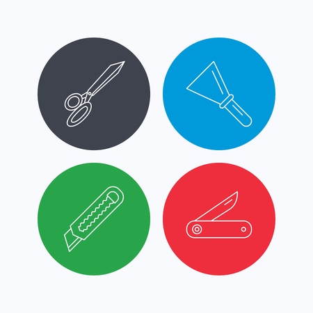 Paper knife, spatula and scissors icons. Multi-tool knife linear sign. Linear icons on colored buttons. Flat web symbols. Vector