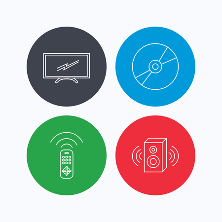 tv remote: TV remote, sound and DVD disc icons. Widescreen TV linear sign. Linear icons on colored buttons. Flat web symbols. Vector