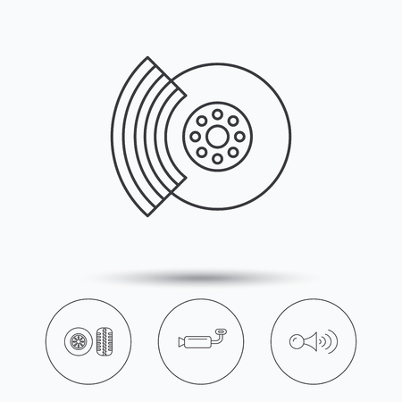 brakes: Tire tread, brakes and steering wheel icons. Muffler, klaxon signal linear signs. Linear icons in circle buttons. Flat web symbols. Vector