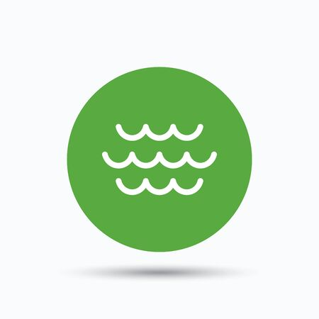 water stream: Wave icon. Water stream symbol. Flat web button with icon on white background. Green round pressbutton with shadow. Vector Illustration