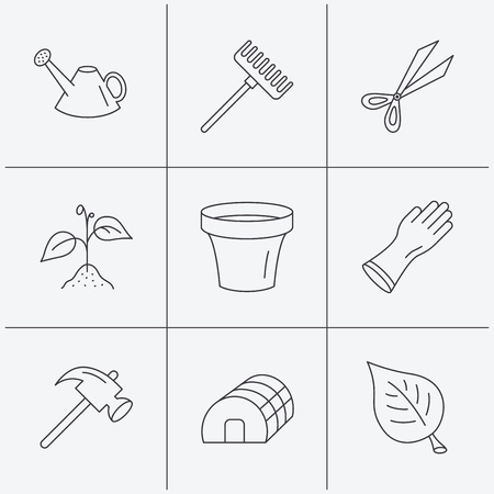 hothouse: Sprout plant, scissors and pot icons. Gloves, rake and watering can linear signs. Hothouse, leaf and hammer flat line icons. Linear icons on white background. Vector