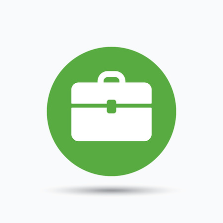 diplomat: Briefcase icon. Diplomat handbag symbol. Business case sign. Flat web button with icon on white background. Green round pressbutton with shadow. Vector Illustration