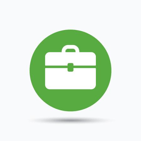 Porte-documents icône. Diplomat symbole de sac à main. Signe de cas d'affaires. Flat bouton Web avec l'icône sur fond blanc. bouton-poussoir rond vert avec l'ombre. Vecteur Vecteurs
