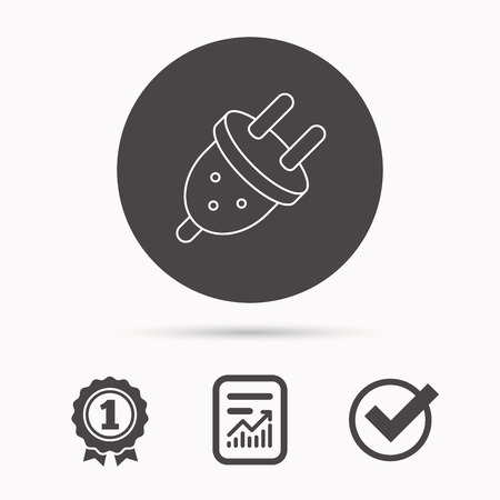 plug socket: Electric plug icon. European socket sign. Report document, winner award and tick. Round circle button with icon. Vector