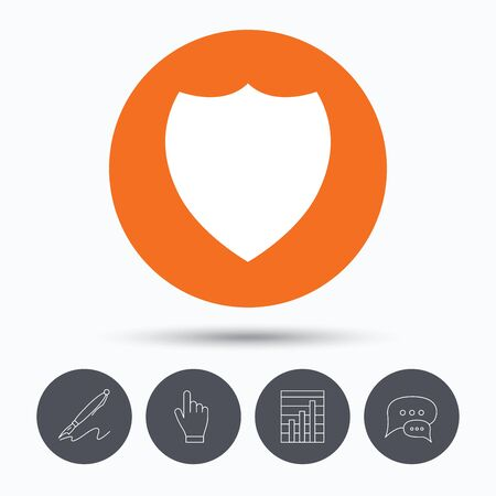 Shield protection icon. Defense equipment symbol. Speech bubbles. Pen, hand click and chart. Orange circle button with icon. Vector