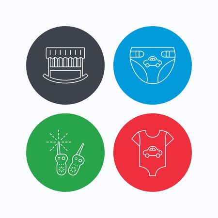 sleeping car: Newborn clothes, diapers and sleep cradle icons. Radio monitoring linear sign. Linear icons on colored buttons. Flat web symbols. Vector