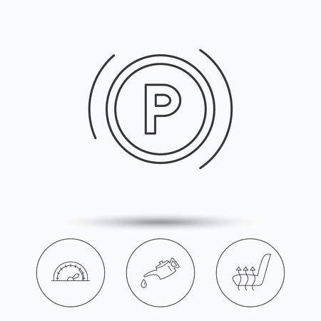 silhouette voiture: Huile à moteur, parking et tachymètre icônes. Sièges chauffants linéaires signent. icônes linéaires dans les boutons de cercle. Flat symboles web. Vecteur