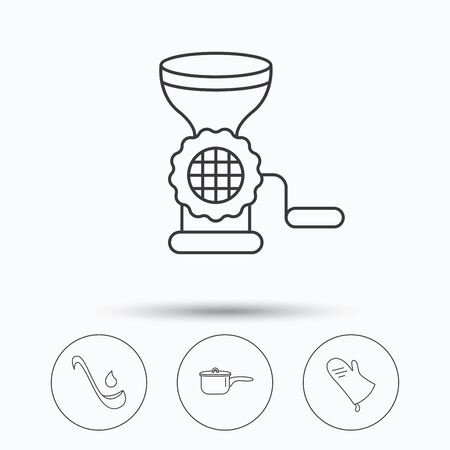 meat soup: Soup ladle, potholder and kitchen utensils icons. Meat grinder and saucepan linear signs. Linear icons in circle buttons. Flat web symbols. Vector