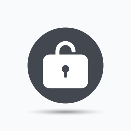 private access: Lock icon. Privacy locker sign. Private access symbol. Flat web button with icon on white background. Gray round pressbutton with shadow. Vector Illustration