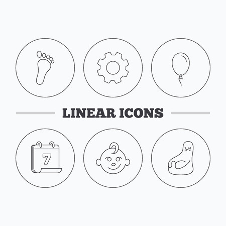 air baby: Footprint, baby boy and child toilet icons. Air balloon linear sign. Flat cogwheel and calendar symbols. Linear icons in circle buttons. Vector