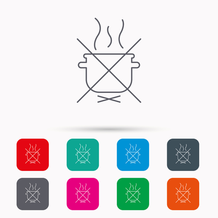 do cooking: Boiling saucepan icon. Do not boil water sign. Cooking manual attenction symbol. Linear icons in squares on white background. Flat web symbols. Vector Illustration