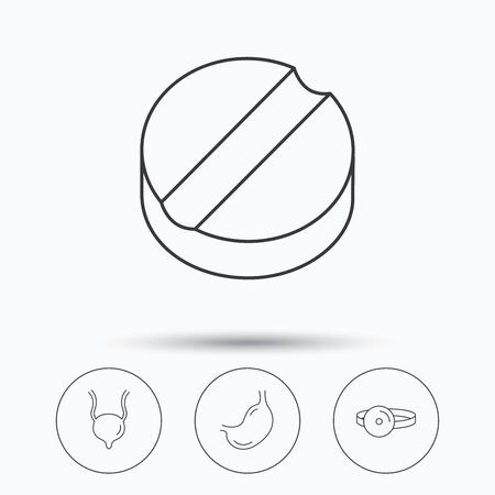 urinary bladder: Medical mirror, tablet and stomach organ icons. Urinary bladder linear sign. Linear icons in circle buttons. Flat web symbols. Vector Illustration