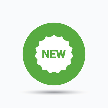 New icon. Special offer star symbol. Flat web button with icon on white background. Green round pressbutton with shadow. Vector Illustration