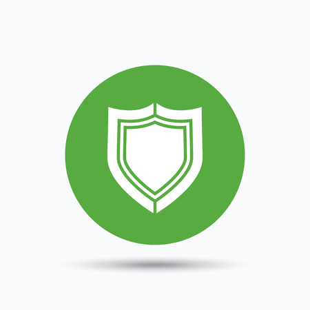 honour guard: Shield protection icon. Defense equipment symbol. Flat web button with icon on white background. Green round pressbutton with shadow. Vector Illustration