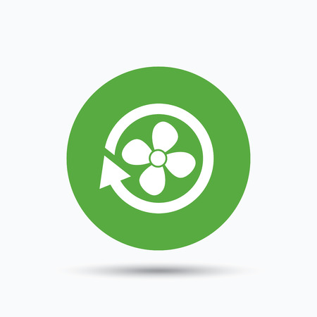 Ventilation icon. Air ventilator or fan symbol. Flat web button with icon on white background. Green round pressbutton with shadow. Vector