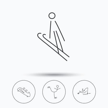 bobsled: Fishing, figure skating and bobsled icons. Ski jumping linear sign. Linear icons in circle buttons. Flat web symbols. Vector