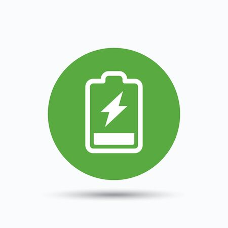 green button: Battery power icon. Charging accumulator symbol. Flat web button with icon on white background. Green round pressbutton with shadow. Vector
