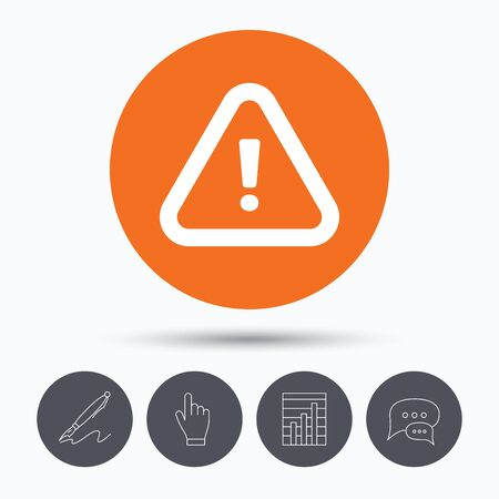 mark pen: Warning icon. Attention exclamation mark symbol. Speech bubbles. Pen, hand click and chart. Orange circle button with icon. Vector