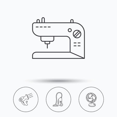 Ventilator Sewing Machine And Hairdryer Icons Ventilator Linear