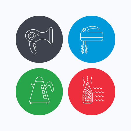 ironing: Steam ironing, kettle and blender icons. Hairdryer linear sign. Linear icons on colored buttons. Flat web symbols. Vector