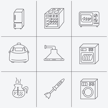 warmer: Microwave oven, washing machine and blender icons. Refrigerator fridge, dishwasher and multicooker linear signs. Coffee icon. Linear icons on white background. Vector