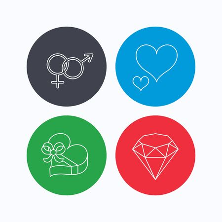 brilliant heart: Love heart, gift box and brilliant icons. Male and female linear signs. Linear icons on colored buttons. Flat web symbols. Vector