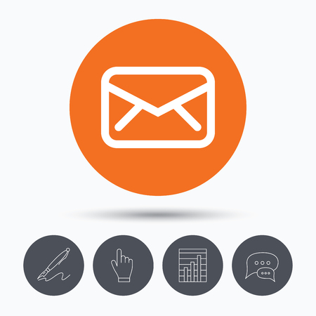 mailing: Envelope icon. Send email message sign. Internet mailing symbol. Speech bubbles. Pen, hand click and chart. Orange circle button with icon. Vector Illustration