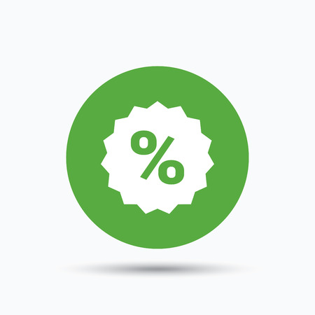 Discount icon. Sale offer star symbol. Flat web button with icon on white background. Green round pressbutton with shadow. Vector