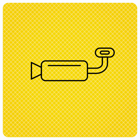 exhaust pipe: Muffer icon. Car fuel pipe or exhaust sign. Linear icon on orange background. Vector