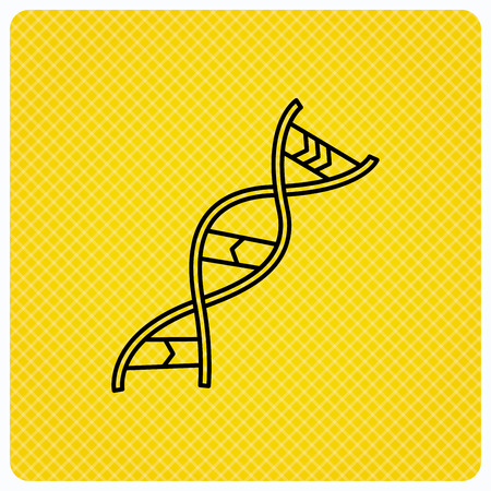 DNA icon. Genetic evolution structure sign. Biology science symbol. Linear icon on orange background. Vector