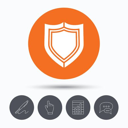 honor guard: Shield protection icon. Defense equipment symbol. Speech bubbles. Pen, hand click and chart. Orange circle button with icon. Vector