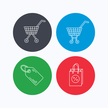 sale icons: Shopping cart, discounts bag and price tag icons. Sale coupon linear sign. Linear icons on colored buttons. Flat web symbols. Vector Illustration