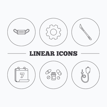 einlauf: Medical mask, pills and scalpel icons. Enema linear sign. Flat cogwheel and calendar symbols. Linear icons in circle buttons. Vector Illustration