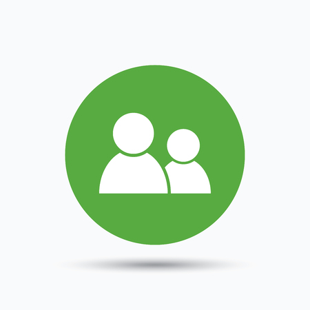 shadow people: Friends icon. Group of people sign. Communication symbol. Flat web button with icon on white background. Green round pressbutton with shadow. Vector