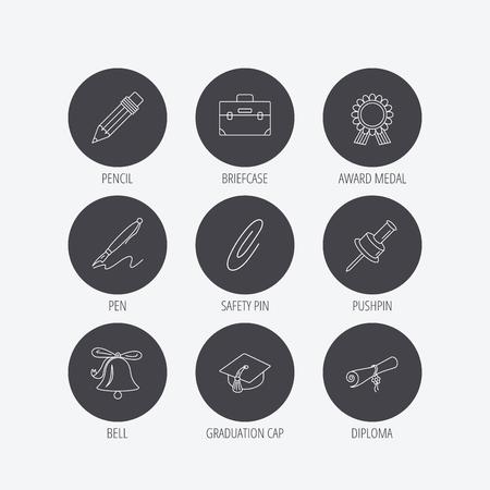 safety circle: Graduation cap, pencil and diploma icons. Award medal, briefcase and bell linear signs. Pen, safety pin icons. Linear icons in circle buttons. Flat web symbols. Vector Illustration
