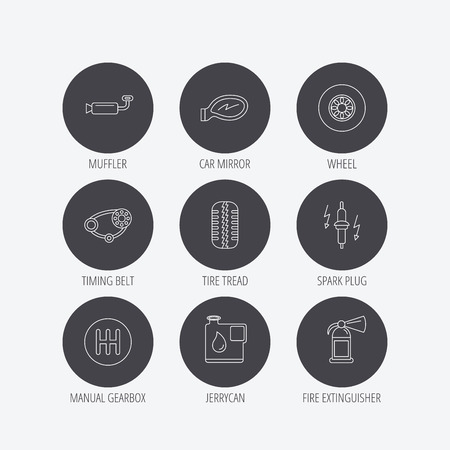 timing belt: Wheel, car mirror and timing belt icons. Fire extinguisher, jerrycan and manual gearbox linear signs. Muffler, spark plug icons. Linear icons in circle buttons. Flat web symbols. Vector Illustration