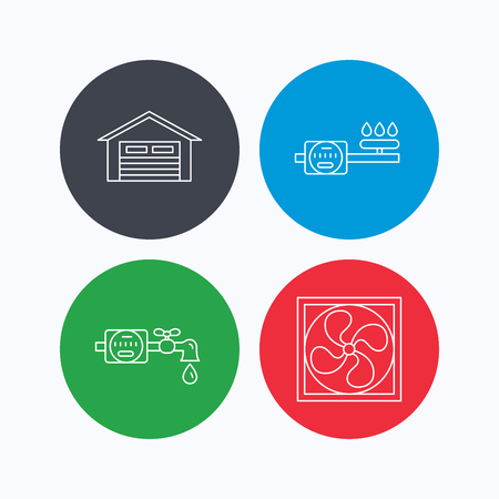 counter service: Ventilation, garage and water counter icons. Gas counter linear sign. Linear icons on colored buttons. Flat web symbols. Vector
