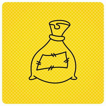 phosphate: Bag with fertilizer icon. Fertilization sack sign. Farming or agriculture symbol. Linear icon on orange background. Vector