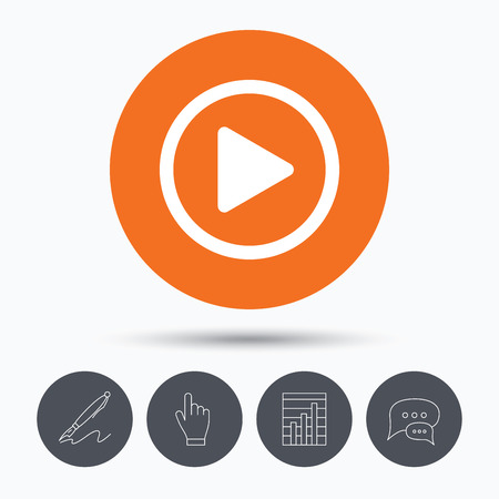 click button: Play icon. Audio or Video player symbol. Speech bubbles. Pen, hand click and chart. Orange circle button with icon. Vector Illustration