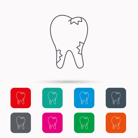 rotting: Caries icon. Tooth health sign. Linear icons in squares on white background. Flat web symbols. Vector Illustration