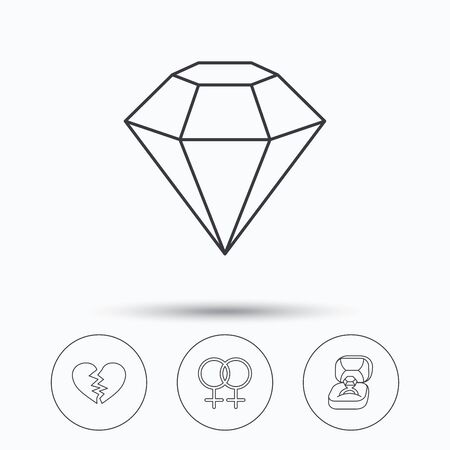 lesbian: Broken heart, diamond and engagement ring icons. Lesbian love linear sign. Linear icons in circle buttons. Flat web symbols. Vector