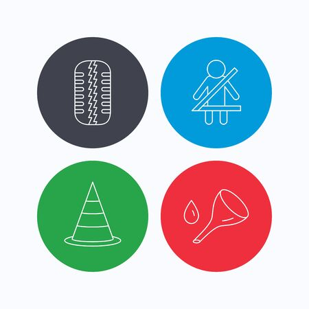 tire change: Tire tread, traffic cone and oil change icons. Fasten seat belt linear sign. Linear icons on colored buttons. Flat web symbols. Vector Illustration