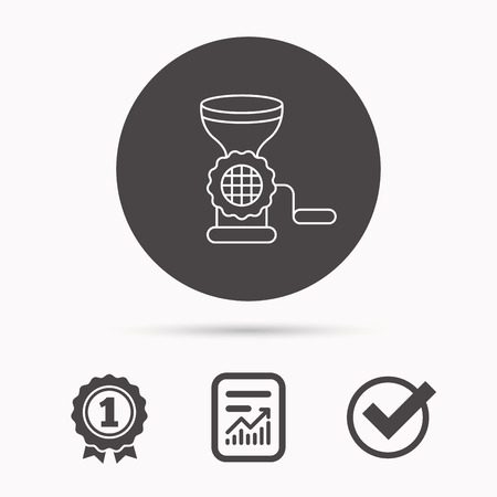 Meat grinder icon. Manual mincer sign. Kitchen tool symbol. Report document, winner award and tick. Round circle button with icon. Vector Illustration
