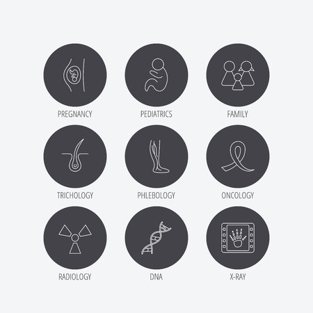 Pregnancy, pediatrics and family icons. Trichology, vein varicose and oncology awareness ribbon linear signs. Radiology, DNA icons. Linear icons in circle buttons. Flat web symbols. Vector