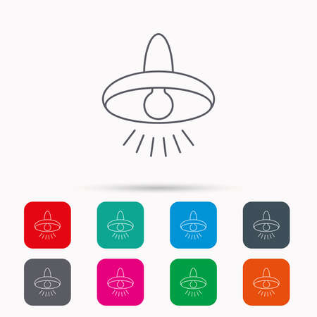 lighting button: Ceiling lamp icon. Light illumination sign. Linear icons in squares on white background. Flat web symbols. Vector Illustration