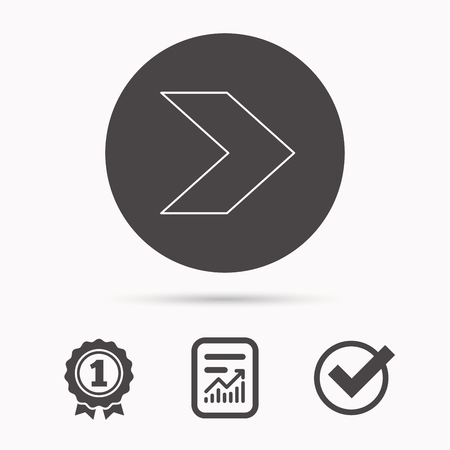 plain button: Next arrow icon. Forward sign. Right direction symbol. Report document, winner award and tick. Round circle button with icon. Vector