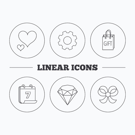 bowknot: Love heart, gift bag and brilliant icons. Bow-knot linear sign. Flat cogwheel and calendar symbols. Linear icons in circle buttons. Vector